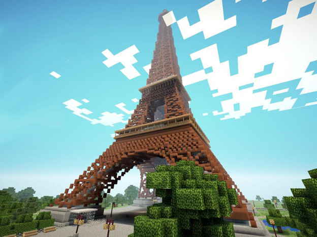 برج ایفل در دنیای ماینکرفت که با خلاقیت ایجاد شده