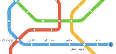 نقشه خطوط و ایستگاه های مترو تهران